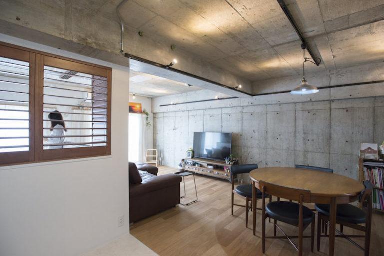 東京都南砂町64㎡のリノベーション事例。コンクリートむき出しのテイスト
