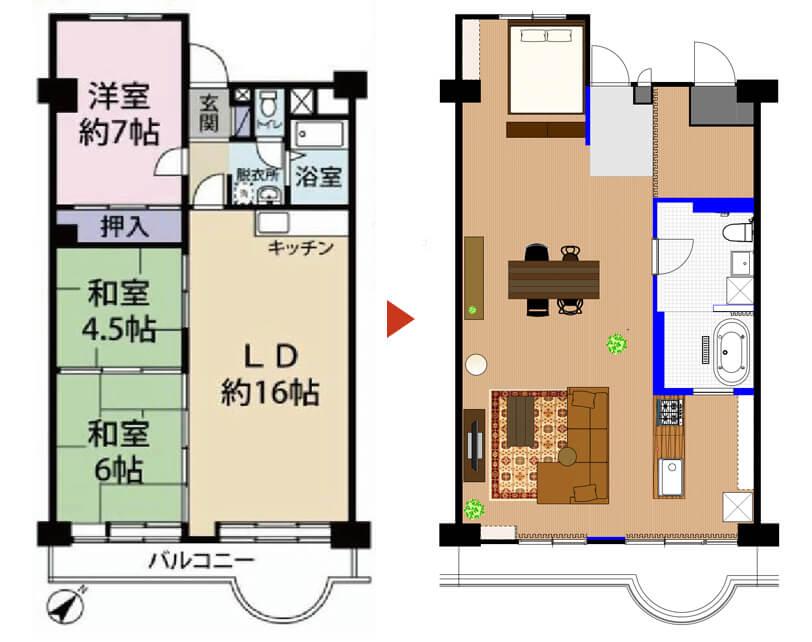埼玉県武蔵浦和71㎡のリノベーション事例ビフォーアフター平面図