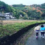 徳島の田舎道に子供が歩いている風景