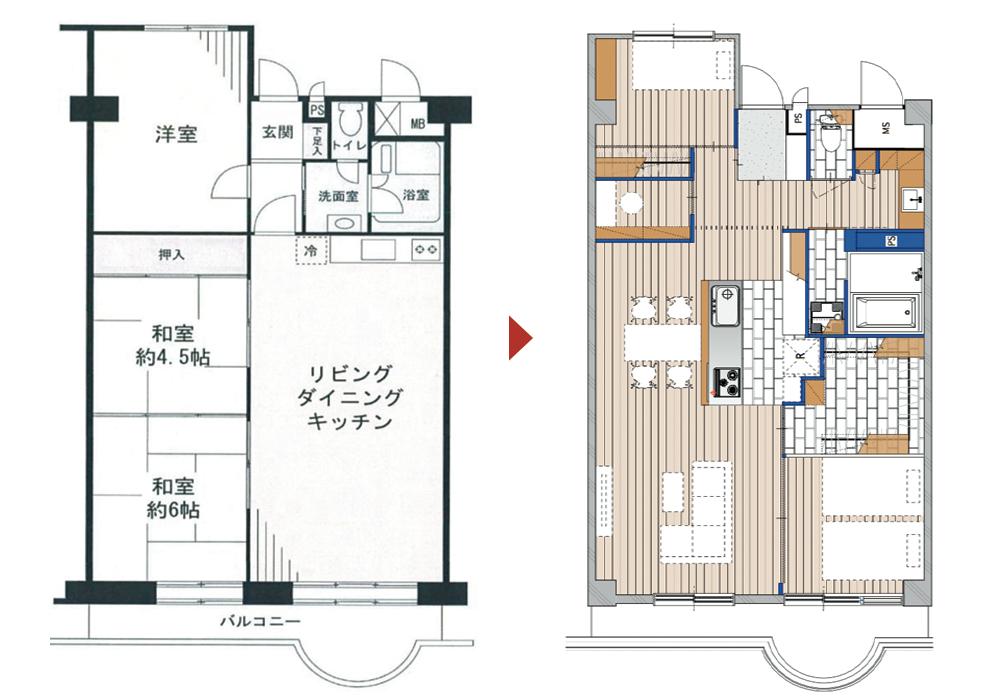 武蔵浦和の中古マンションのリノベーションのビフォアフター