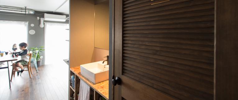 東京都駒沢公園の中古マンションのリノベーション後のサニタリー