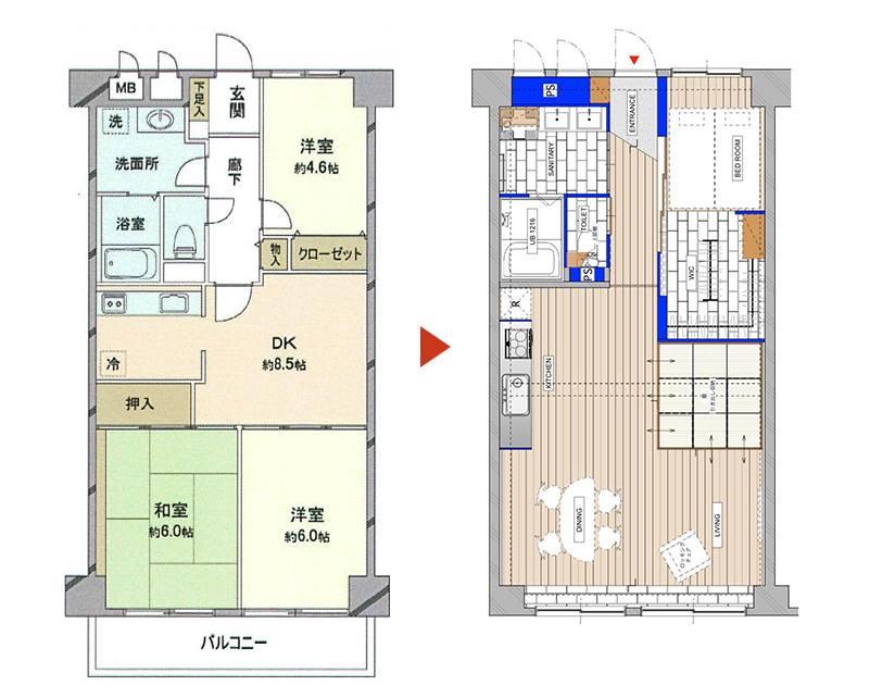 埼玉県志木の中古マンションのリノベーションのビフォーアフター