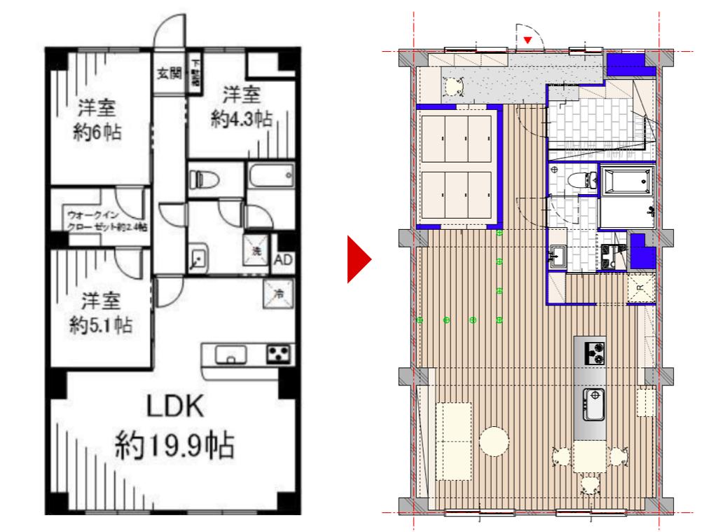 金町の中古マンションのリノベーションのビフォーアフター図面