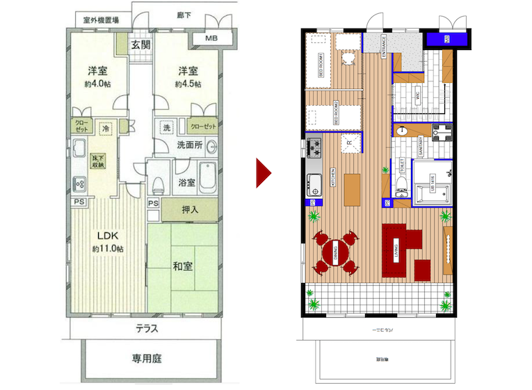 橋本の中古マンションのリノベーションのビフォーアフター
