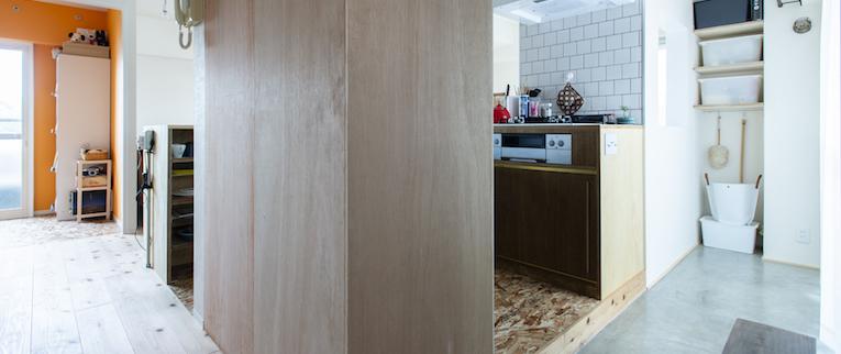 調布の中古マンションのリノベーション後の廊下とキッチン