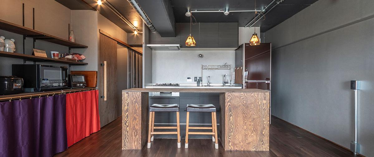 みずほ台の中古マンションのリノベーション後のリビングとキッチン
