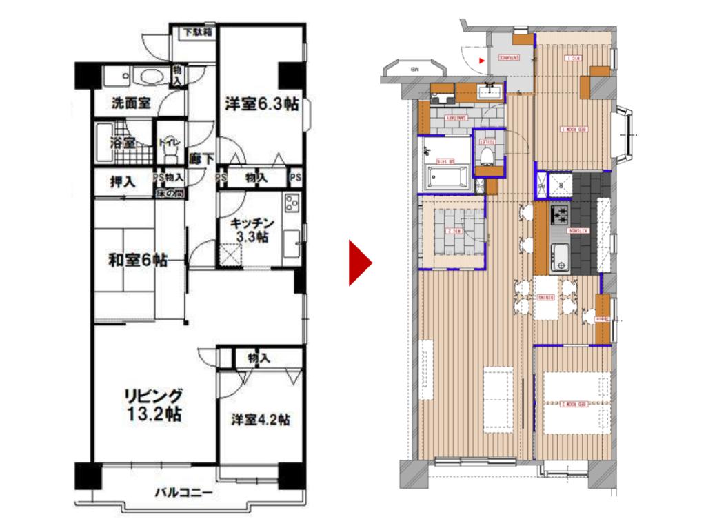 北浦和の中古マンションのリノベーションのビフォーアフター図面
