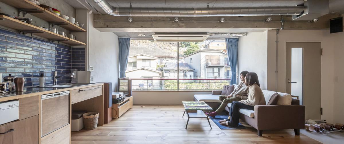 石川町の中古マンションのリノベーション後のリビング