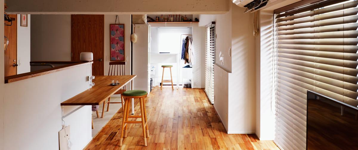 高井戸の中古マンションのリノベーション後のリビングからの書斎スペース