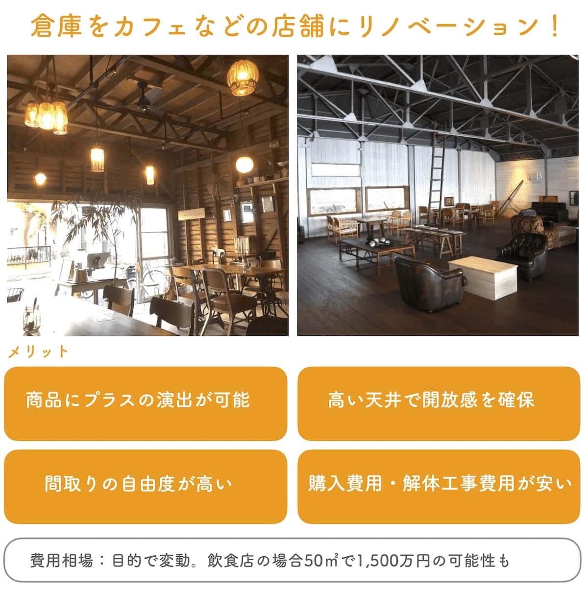 倉庫をカフェなどの店舗にリノベーション