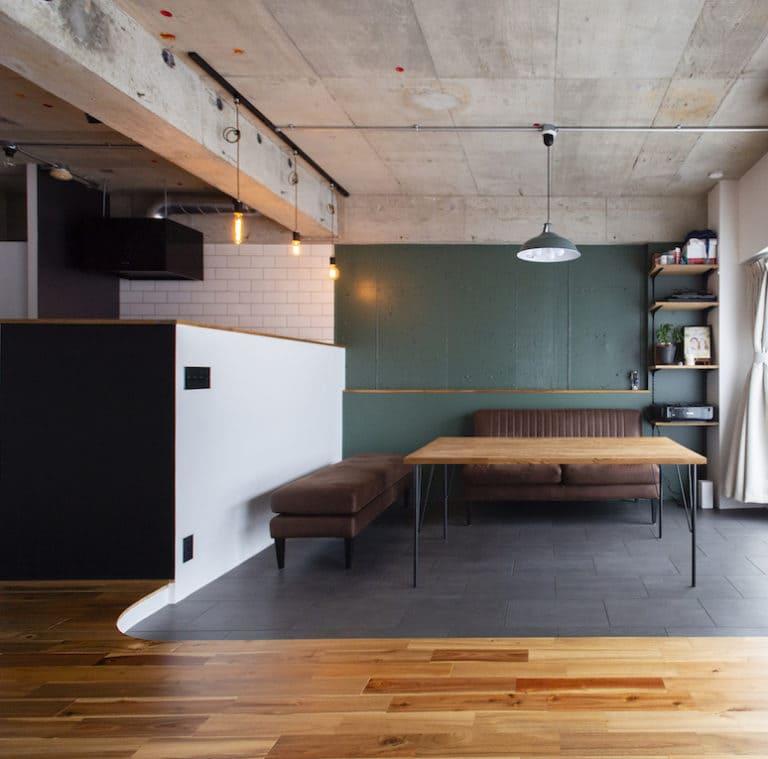 橋本の中古マンションのリノベーション後のダイニングとキッチン