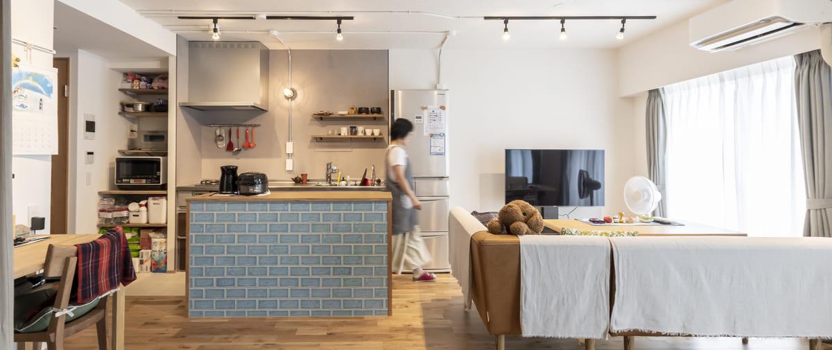 北浦和の中古マンションのリノベーション後のリビングキッチン