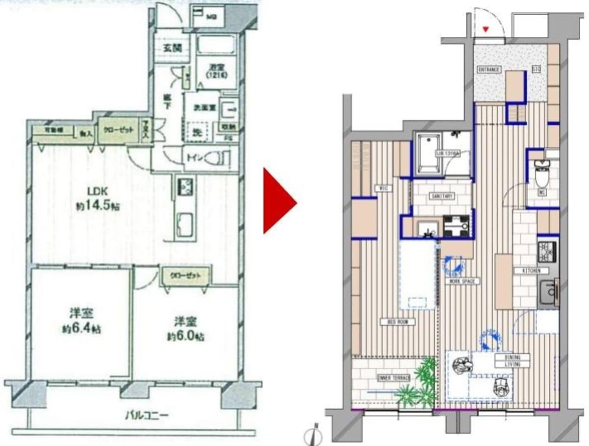 北浦和の中古マンションのリノベーションのビフォーアフター