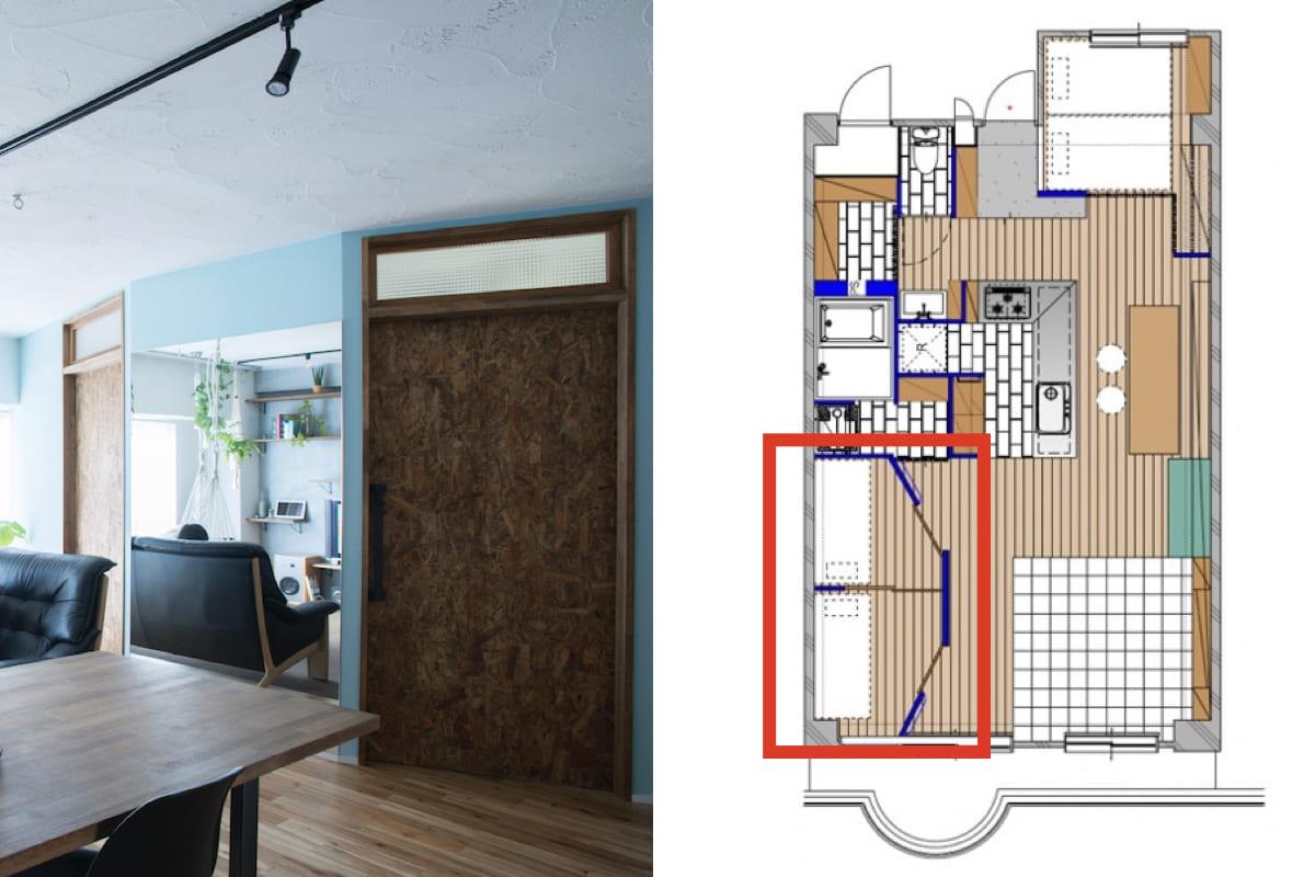 1つの部屋を引き戸で仕切った2つの個室
