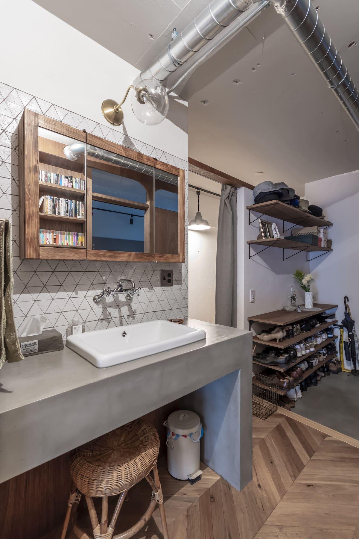 洗面台 玄関 リノベーション事例