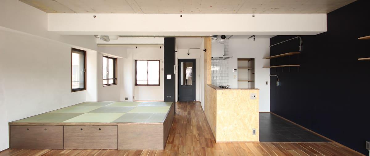 武蔵新城の中古マンションのリノベーション後のリビングとキッチン