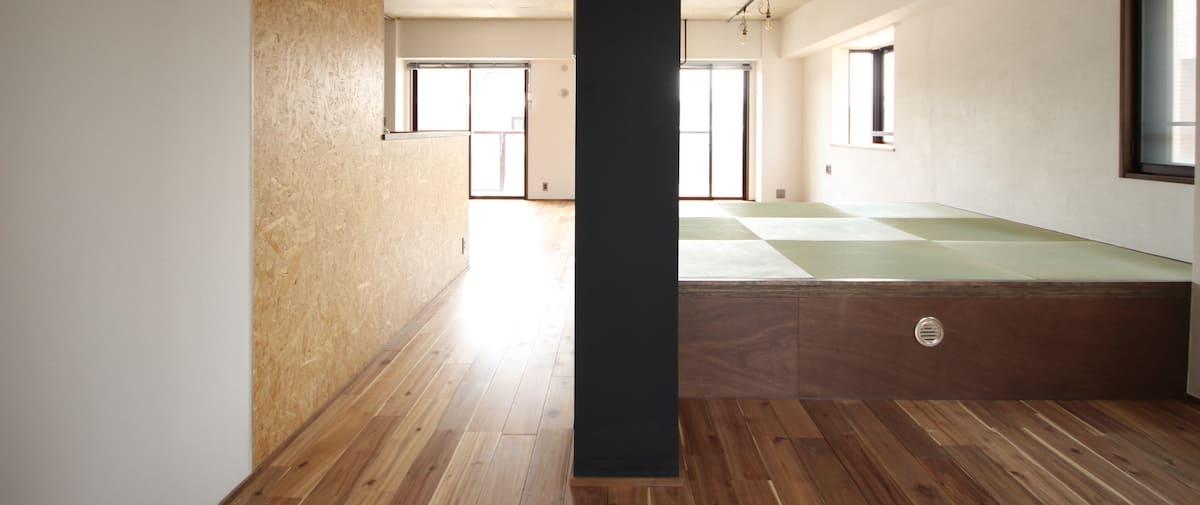 武蔵新城の中古マンションのリノベーション後の廊下からみたリビングとキッチン
