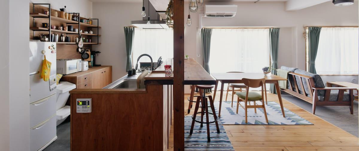 京王永山の中古マンションのリノベーション後の横から見たキッチン